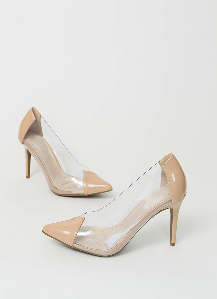 Clear And To The Point Illusion Pumps NUDE