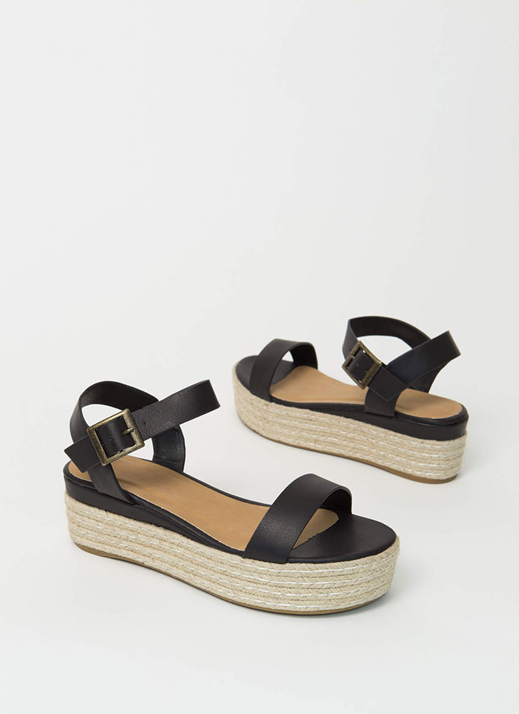 Beachy Strappy Braided Wedge Sandals BLACK
