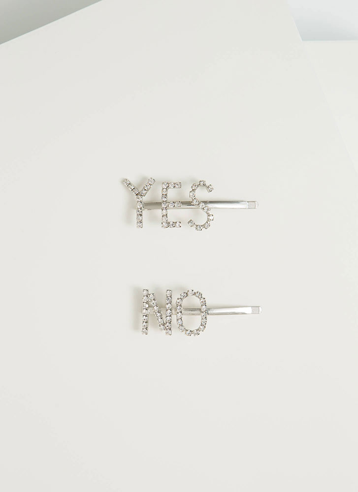 Yes Or No Rhinestone Hair Pin Duo SILVER