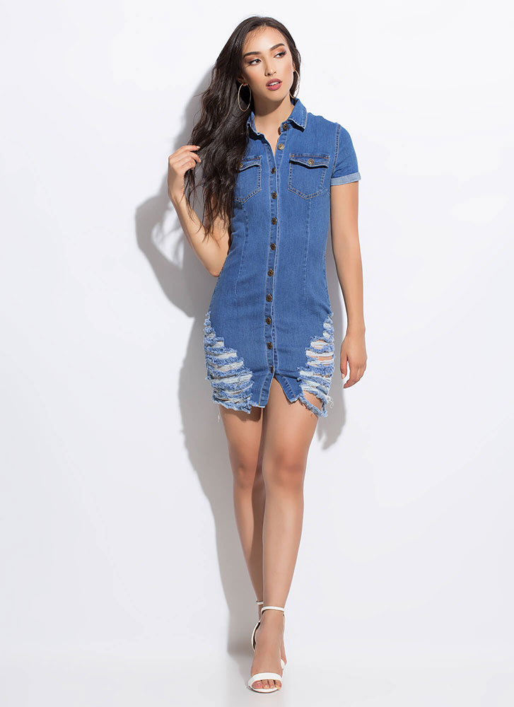 Scratch That Destroyed Denim Dress BLUE