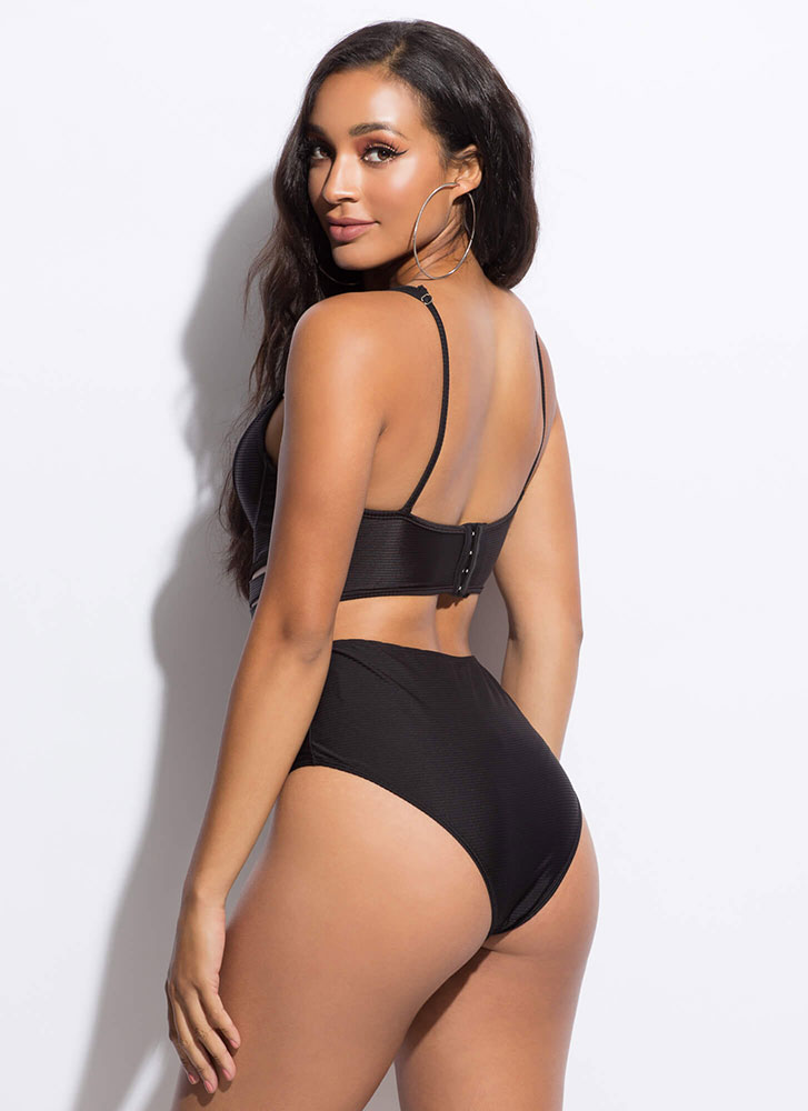 Cut-Out For This Strappy Caged Swimsuit BLACK (Final Sale)