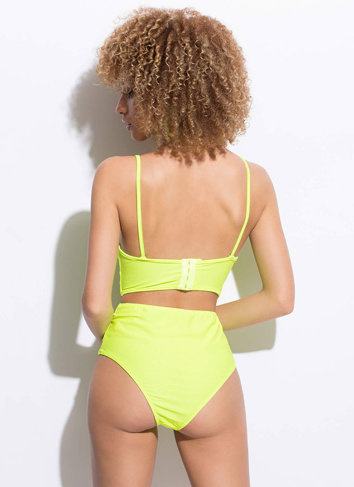 Cut-Out For This Strappy Caged Swimsuit NEONGREEN (Final Sale)