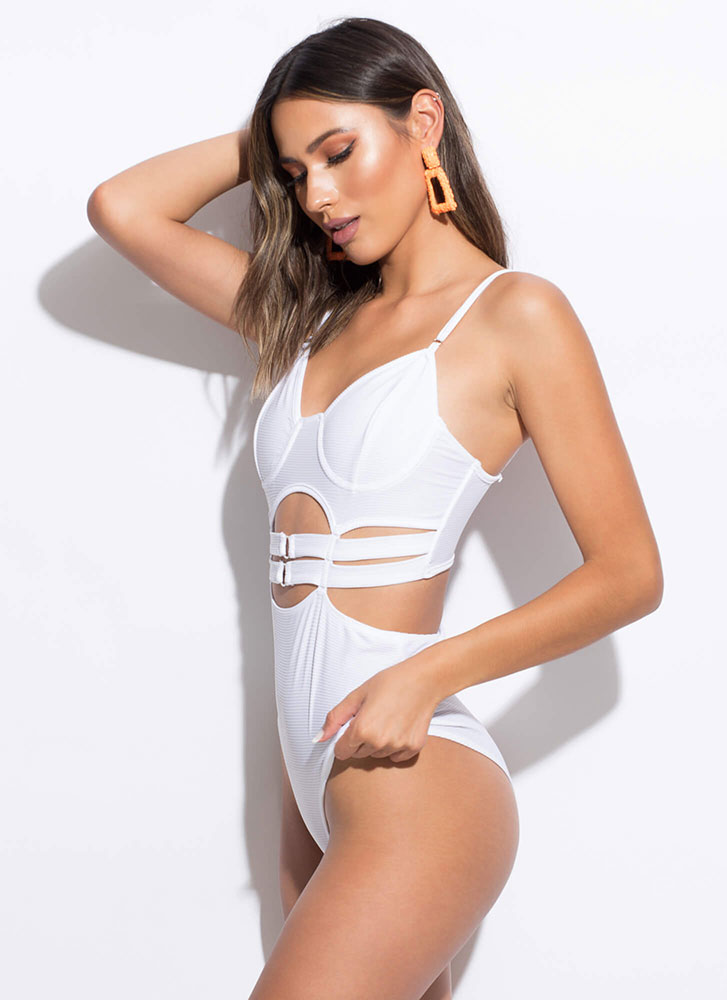 Cut-Out For This Strappy Caged Swimsuit WHITE (Final Sale)