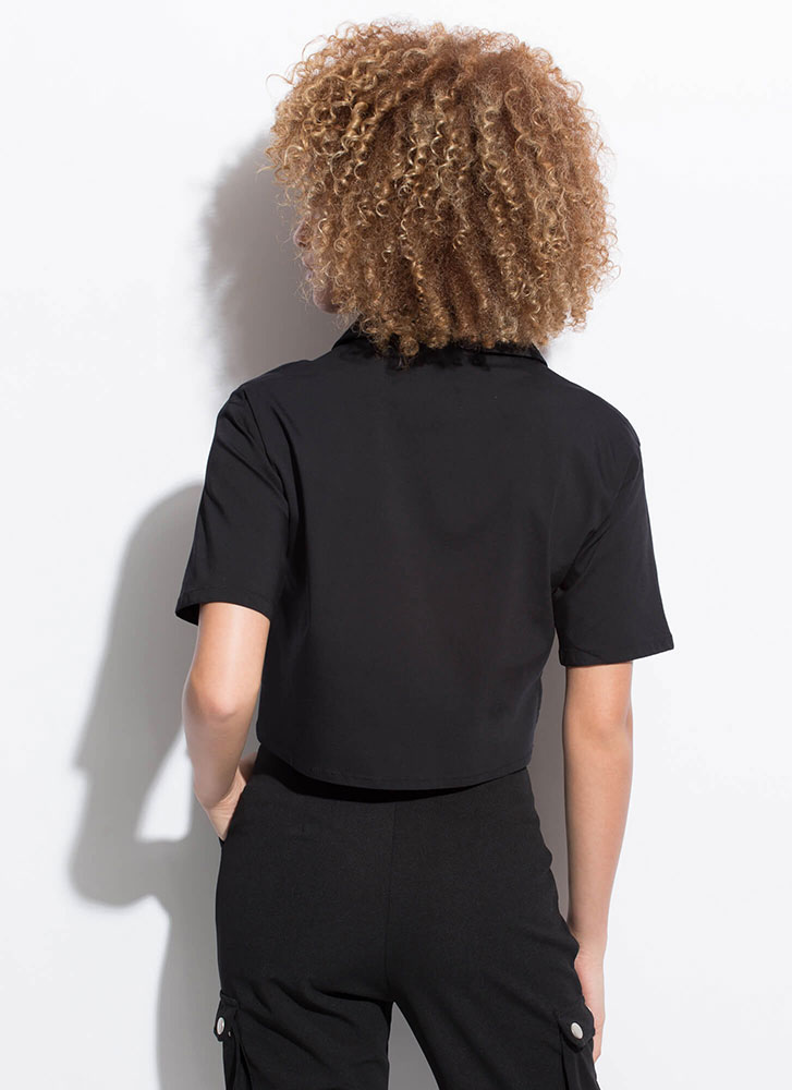 Change My Mind Collared Cropped Blouse BLACK
