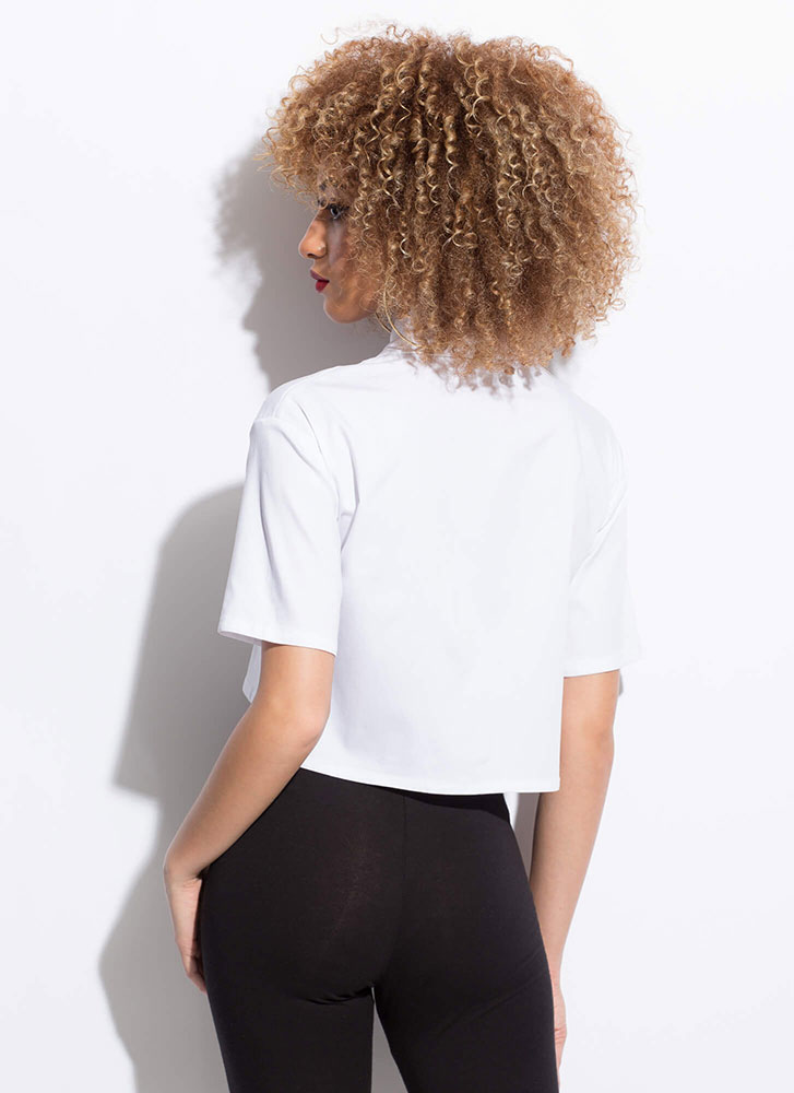 Change My Mind Collared Cropped Blouse WHITE