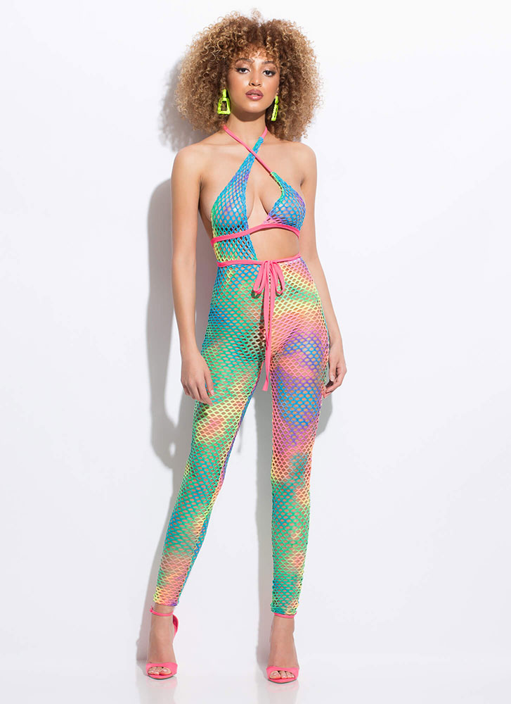 Hole Thing Netted Tied Tie-Dye Jumpsuit MULTI