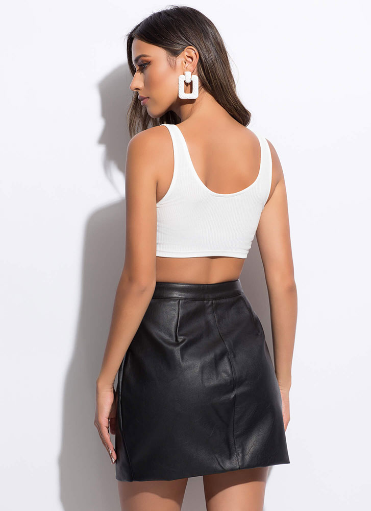 Hop Zip And A Jump Faux Leather Skirt BLACK
