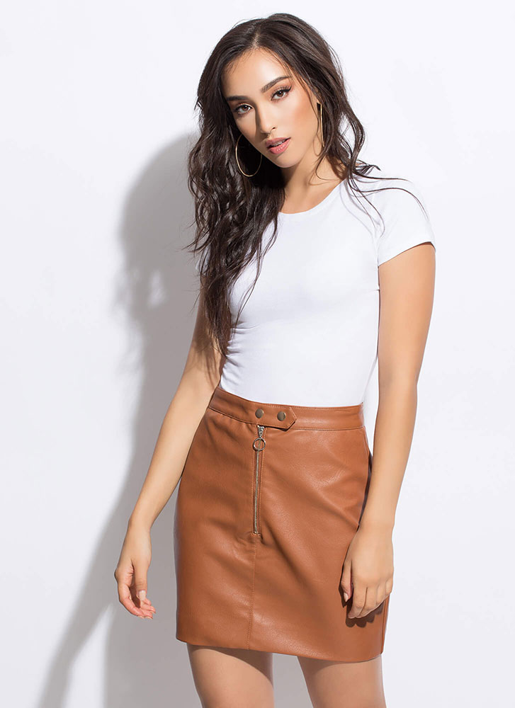 Hop Zip And A Jump Faux Leather Skirt CAMEL