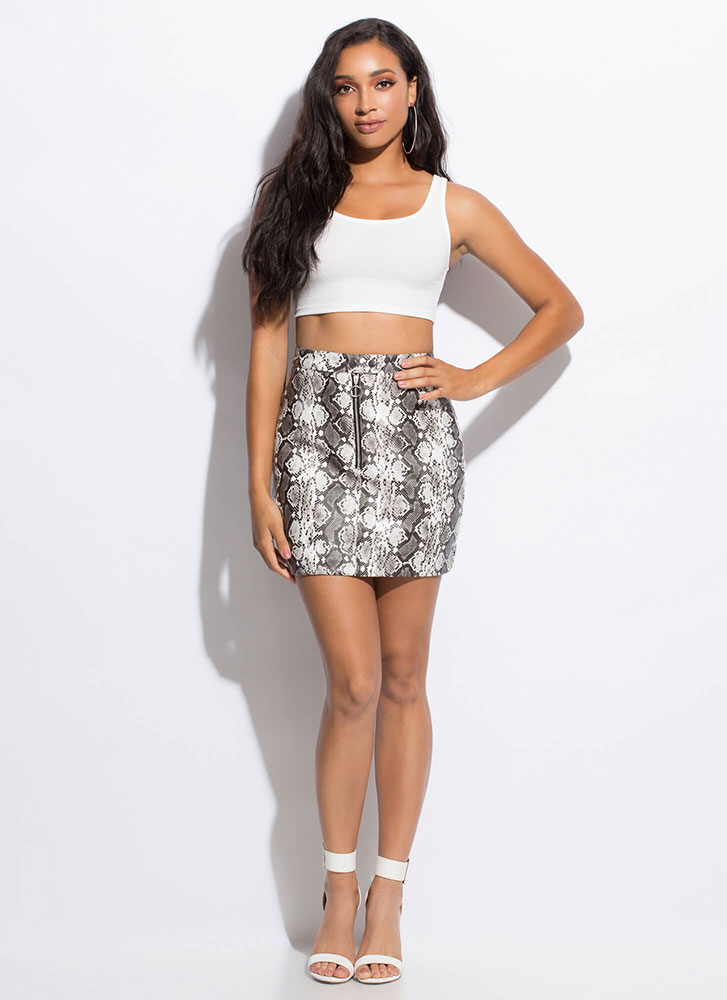 Hop Zip And A Jump Faux Snake Skirt BLACK