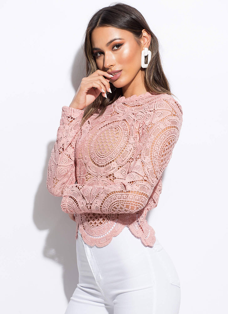 Lady In Lace Scalloped Crochet Top BLUSH