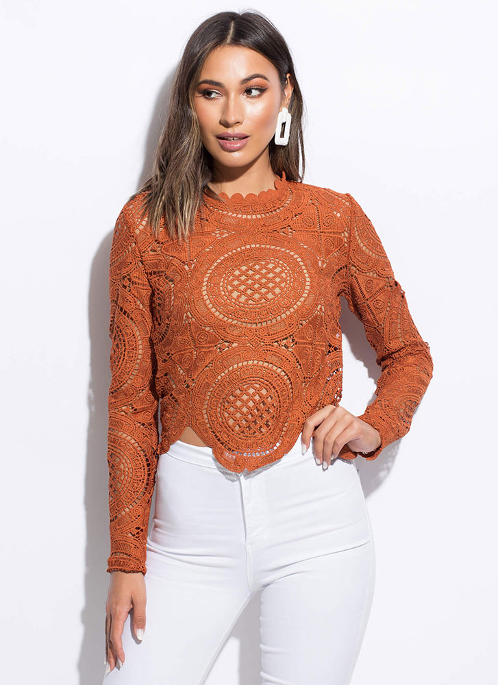 Lady In Lace Scalloped Crochet Top RUST