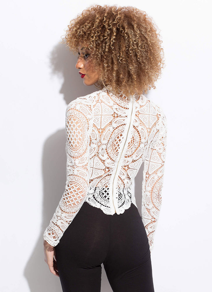 Lady In Lace Scalloped Crochet Top WHITE