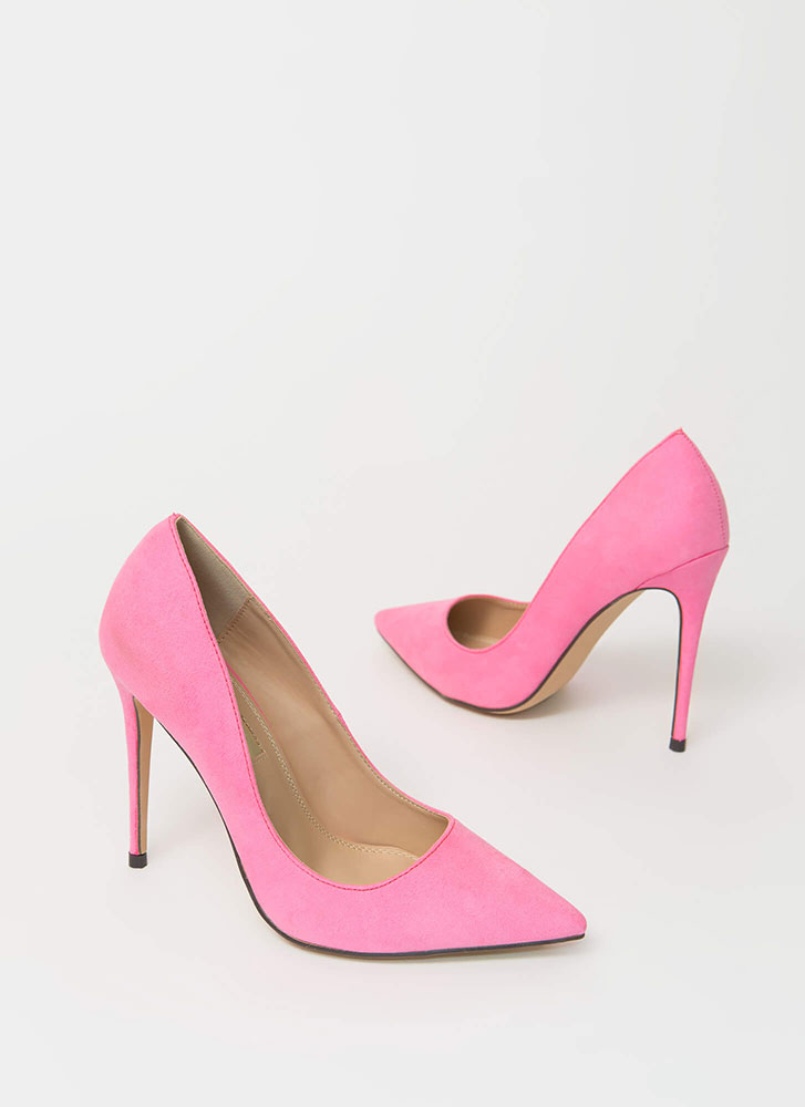 The Essential Pointy Faux Suede Pumps NEONPINK