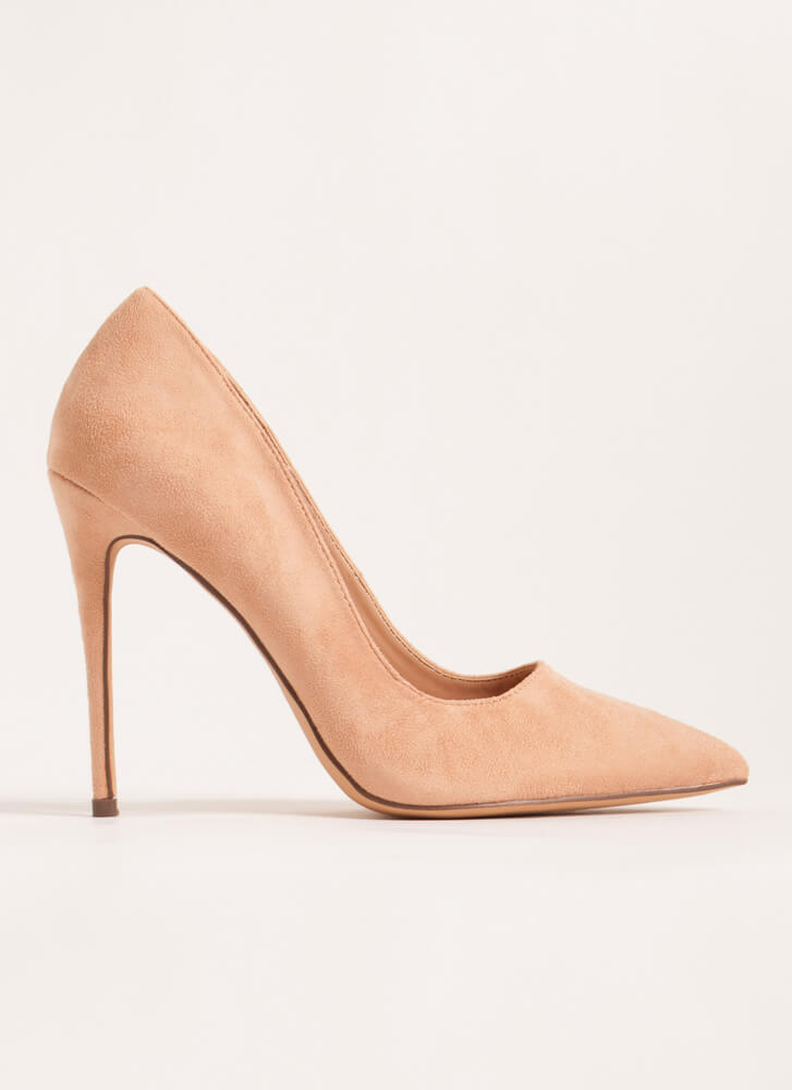 The Essential Pointy Faux Suede Pumps NUDE