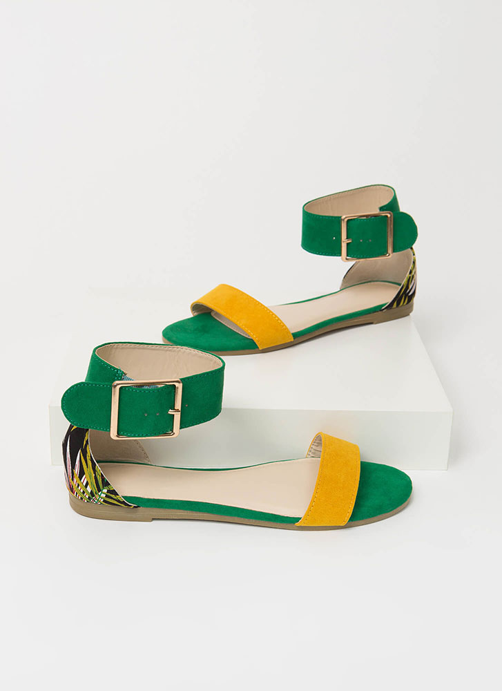 A Little Tropical Ankle Strap Sandals GREEN