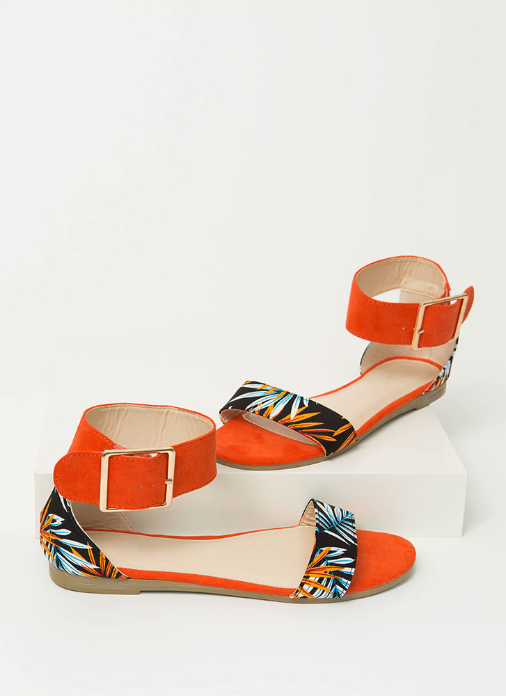 A Little Tropical Ankle Strap Sandals ORANGE