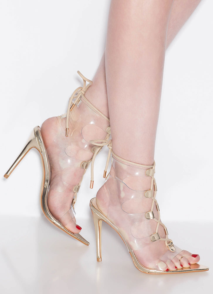 Clearly Caged Metallic Lace-Up Heels GOLD