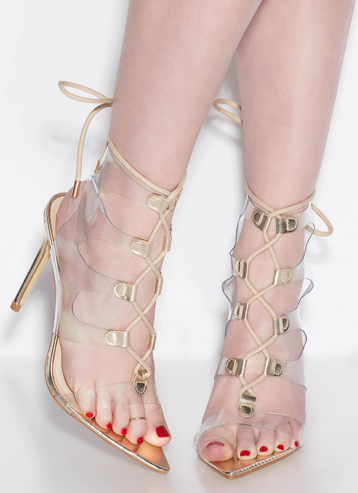 Clearly Caged Metallic Lace-Up Heels GOLD (Final Sale)
