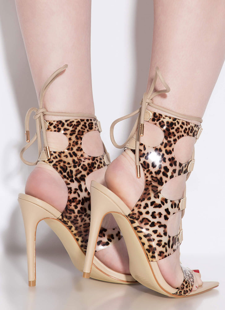 Caged Animal Cut-Out Lace-Up Heels LEOPARD (Final Sale)