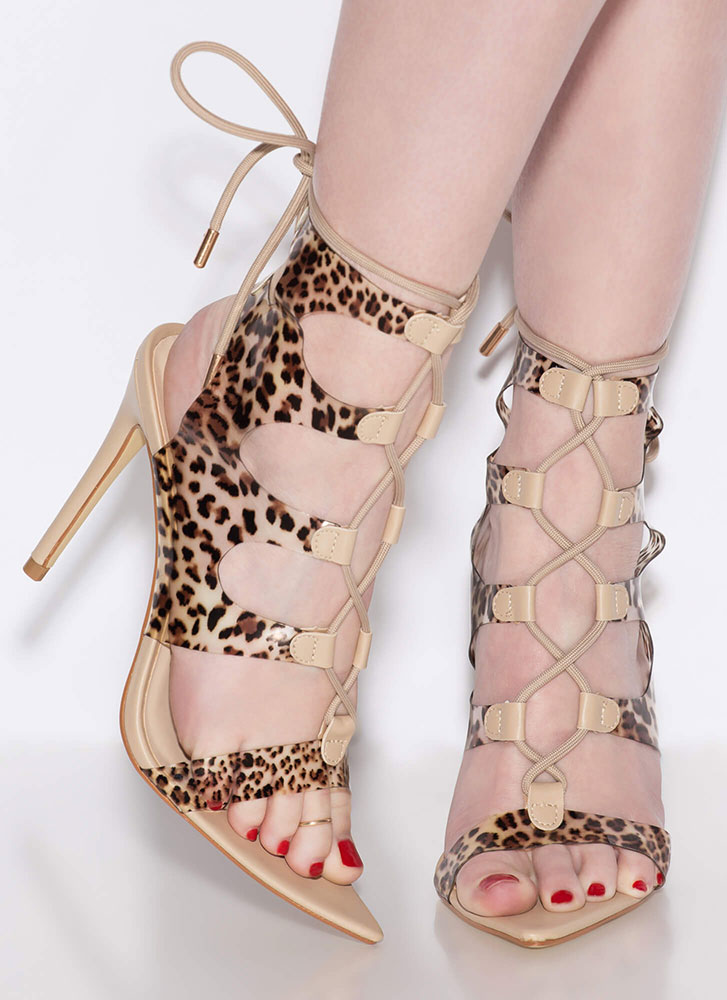 Caged Animal Cut-Out Lace-Up Heels LEOPARD