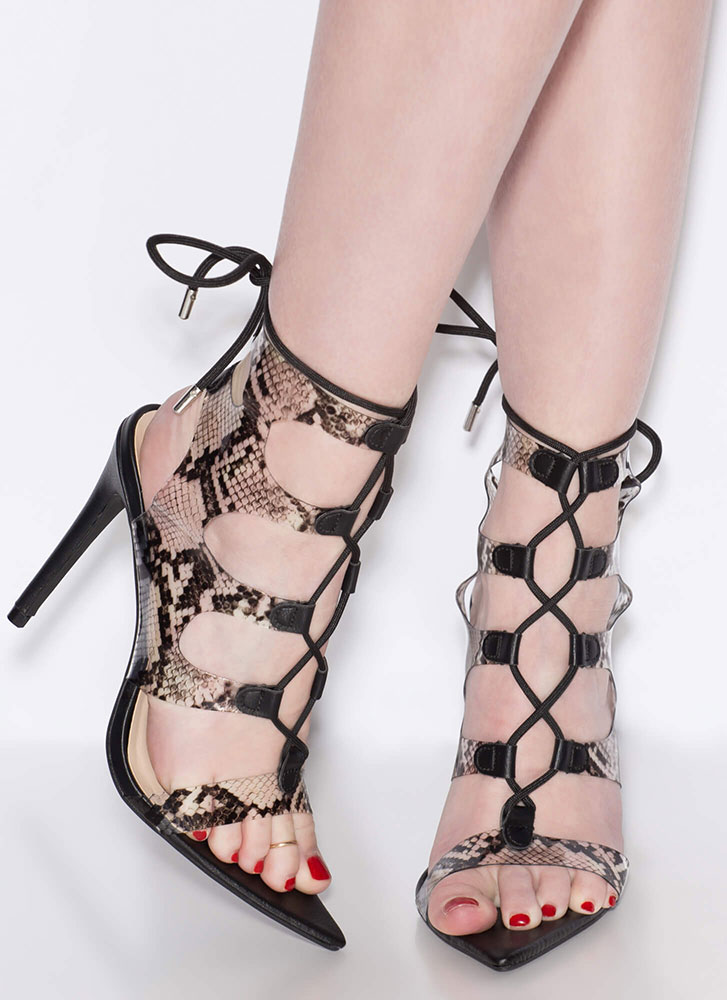 Caged Animal Cut-Out Lace-Up Heels SNAKE