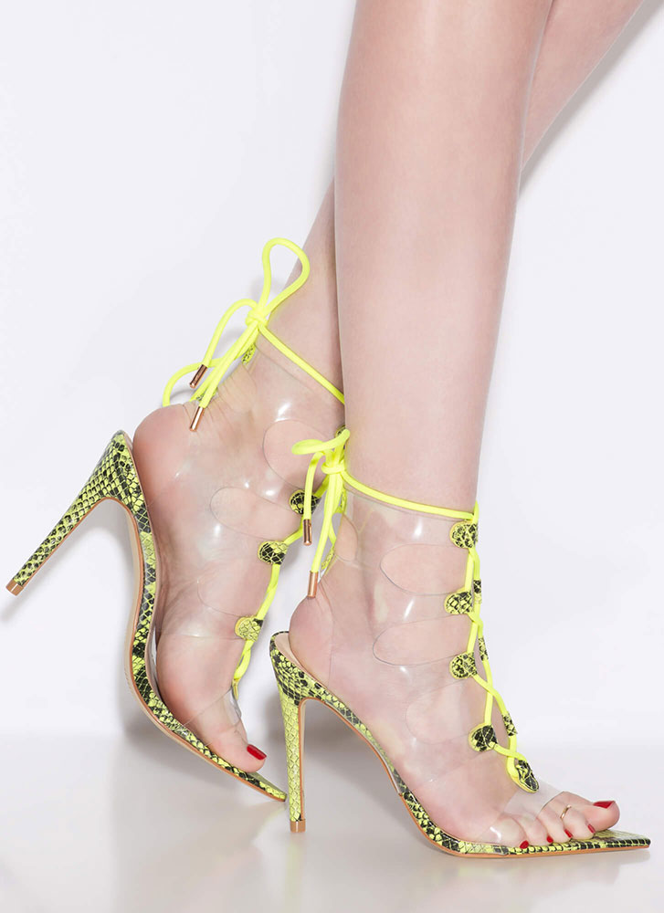 Clearly Caged Faux Snake Lace-Up Heels NEONYELLOW