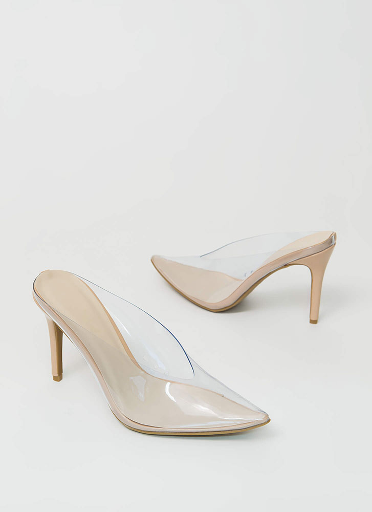 How Low Clear Pointy Mule Heels NUDE