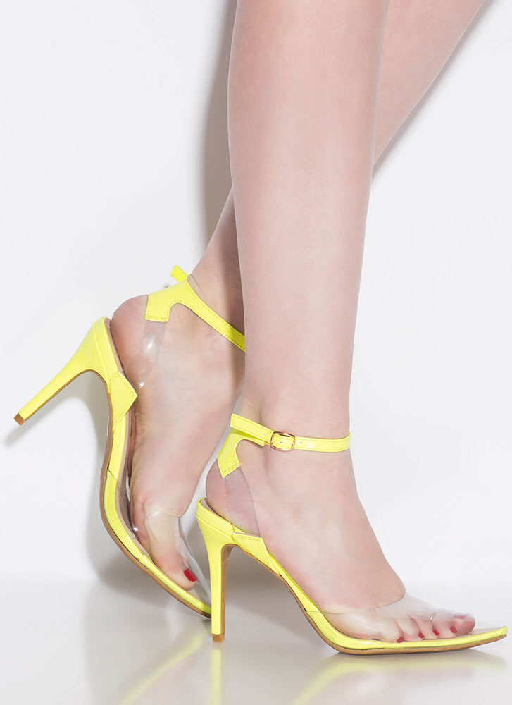 Clear History Pointy Illusion Heels NEONYELLOW