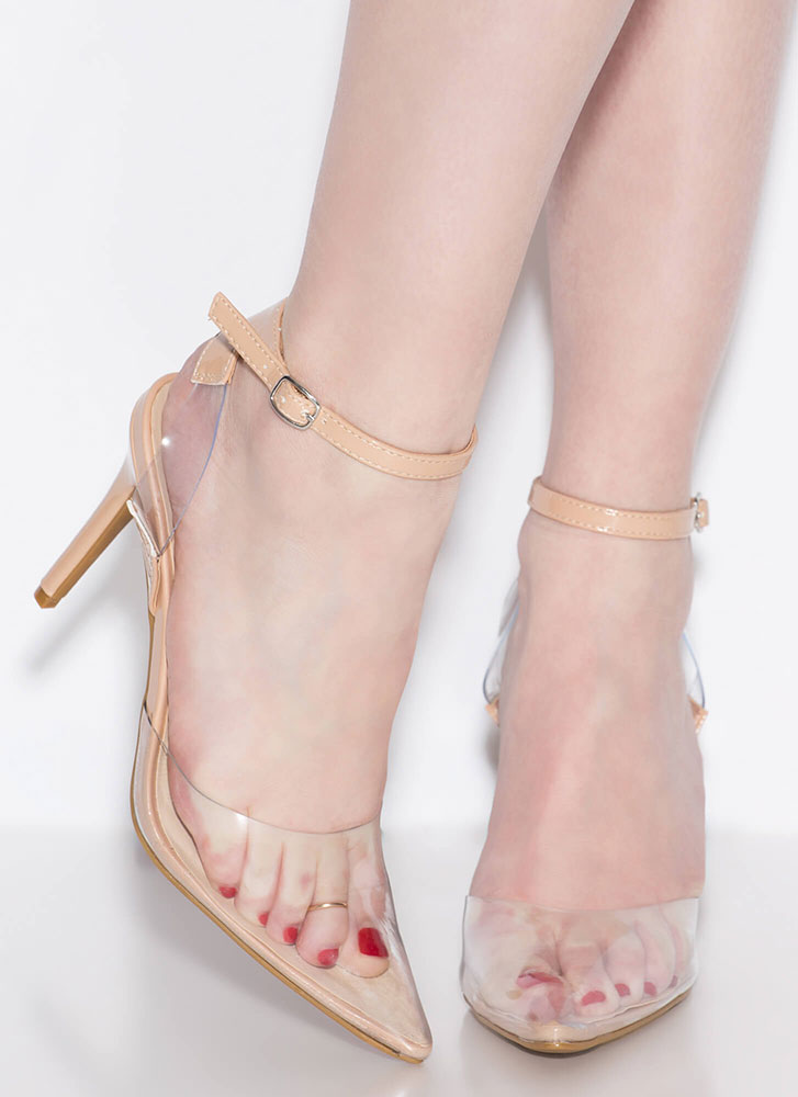 Clear History Pointy Illusion Heels NUDE
