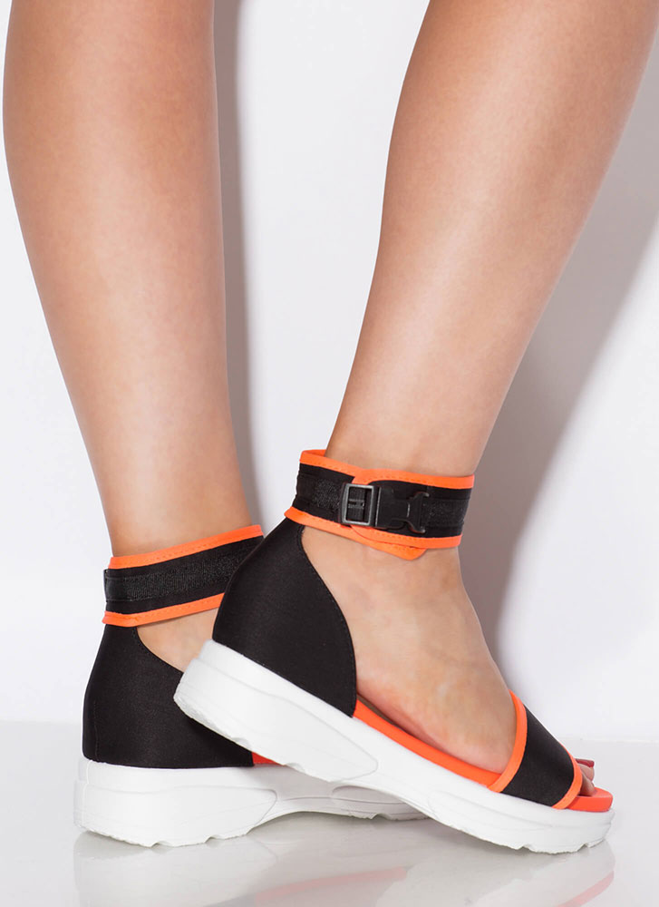 Sneak Attack Sporty Platform Sandals NEONORANGE (Final Sale)