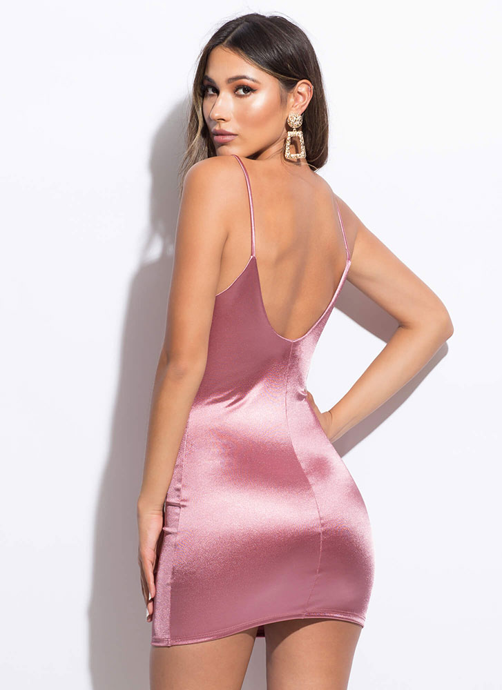 Waiting For Ken Satin Minidress MAUVE