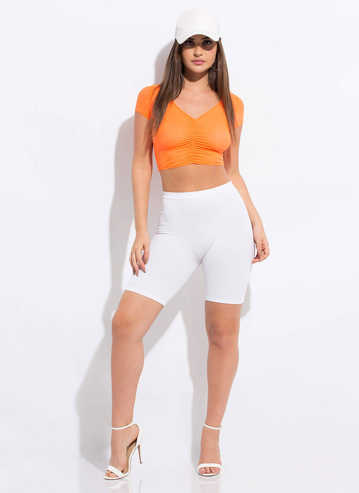 Couldn't Be More Shirr Mesh Crop Top ORANGE
