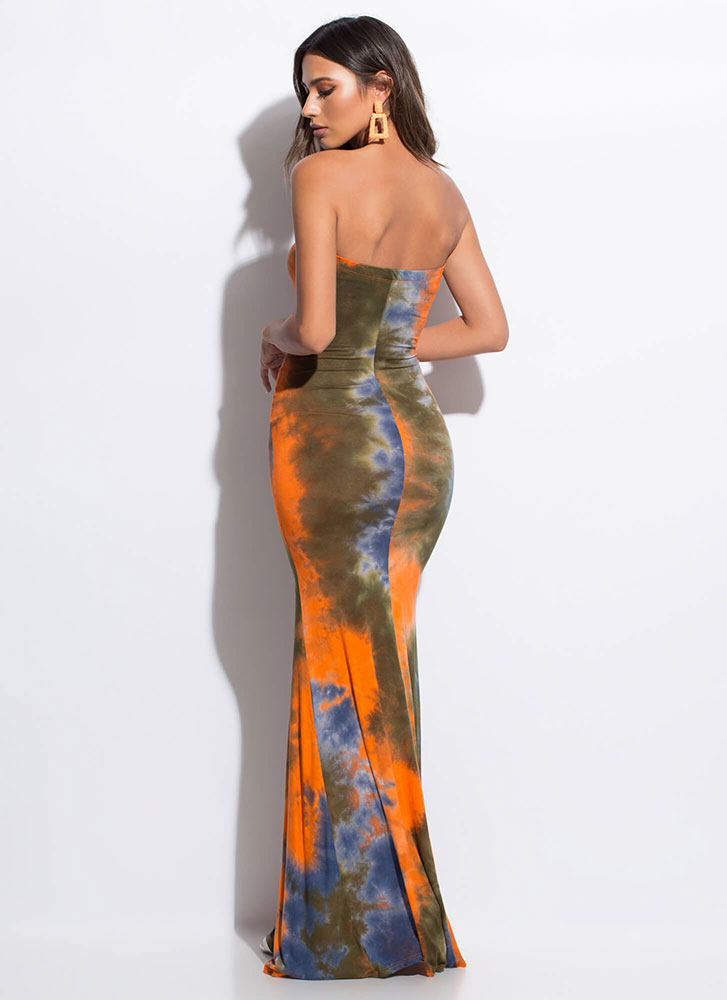 Tied Score Tie-Dyed Strapless Maxi Dress