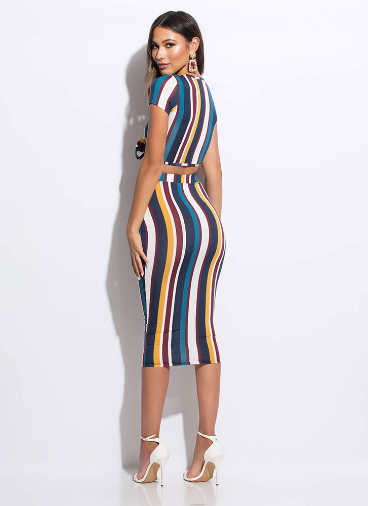 It's Knot Mine Striped Top And Skirt Set BLUEMULTI