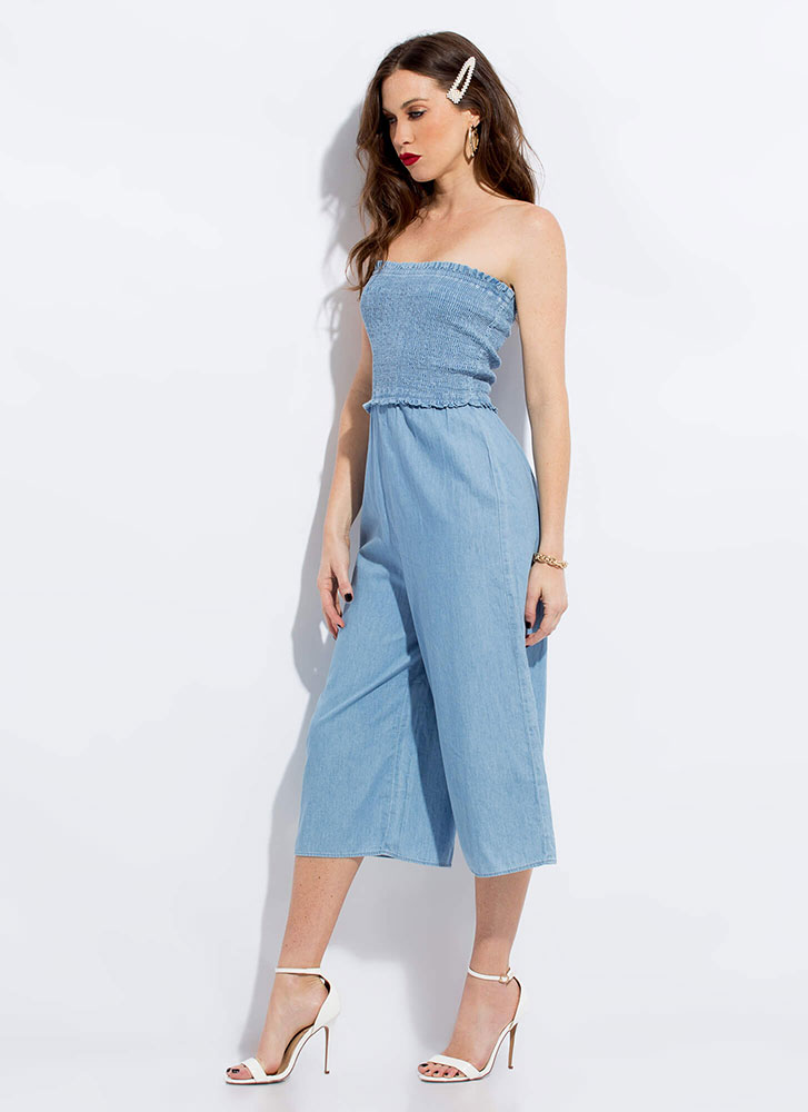 Summer Blues Cropped Chambray Jumpsuit LTBLUE