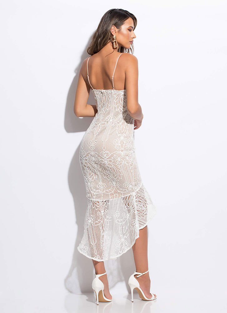 Bridal Brunch Ruffled Floral Lace Dress WHITE