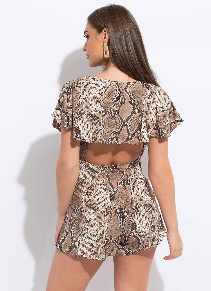 Year Of The Snake Ruffled Wrapped Romper BROWN