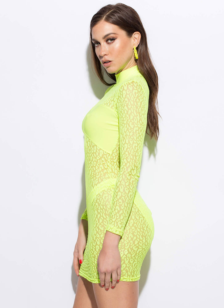 Leopard And Lace Sheer Mesh Minidress NEONYELLOW