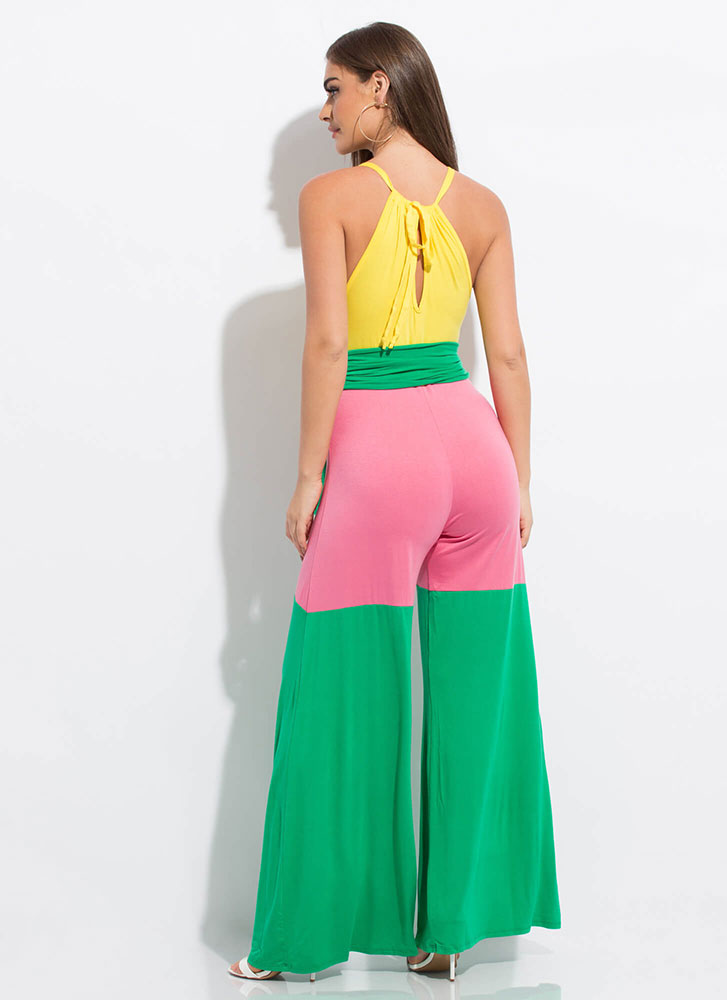 Colorblock Party Tied Palazzo Jumpsuit YELLOWMULTI