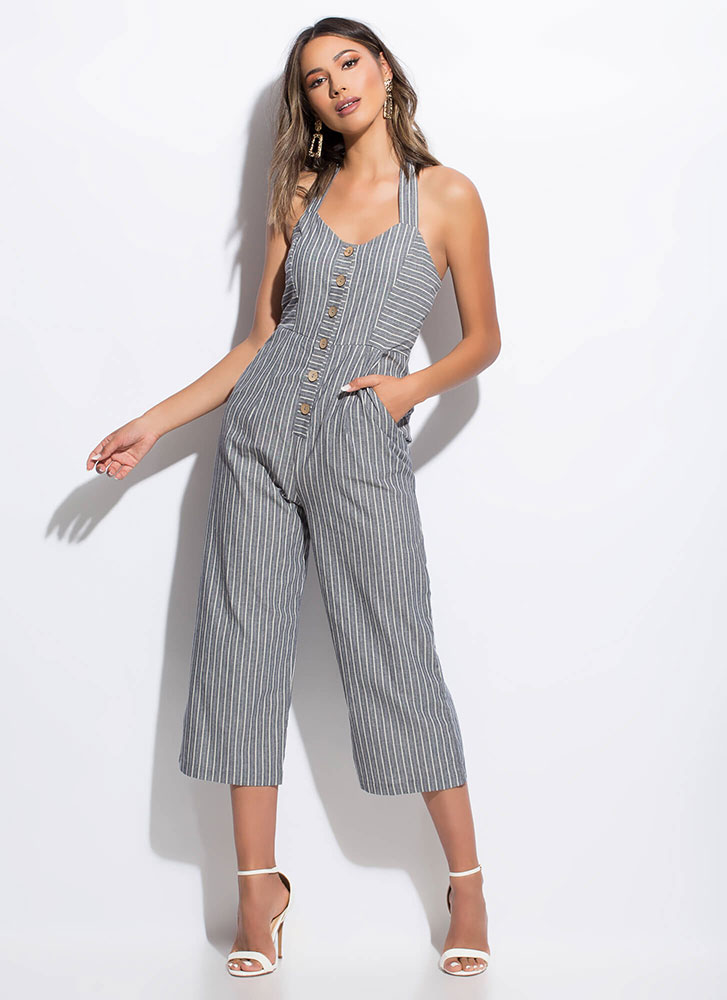 Vacay Worthy Pinstriped Halter Jumpsuit NAVY (Final Sale)