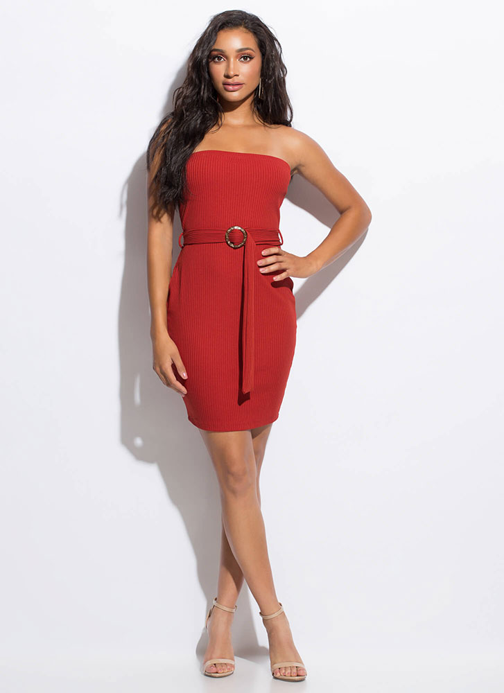 Belted Beauty Rib Knit Tube Dress BRICK