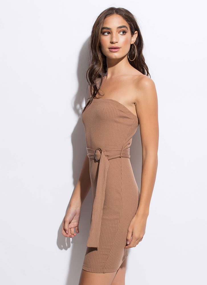 Belted Beauty Rib Knit Tube Dress BROWN