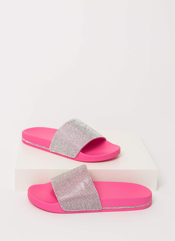 Bling On The Sun Jeweled Slide Sandals NEONPINK