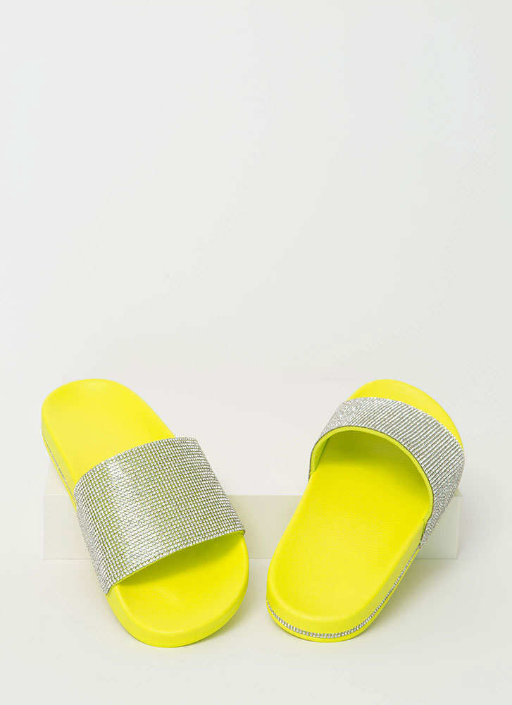 Bling On The Sun Jeweled Slide Sandals NEONYELLOW