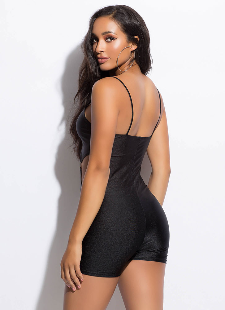 Three-Ring Circus Cut-Out Romper BLACK