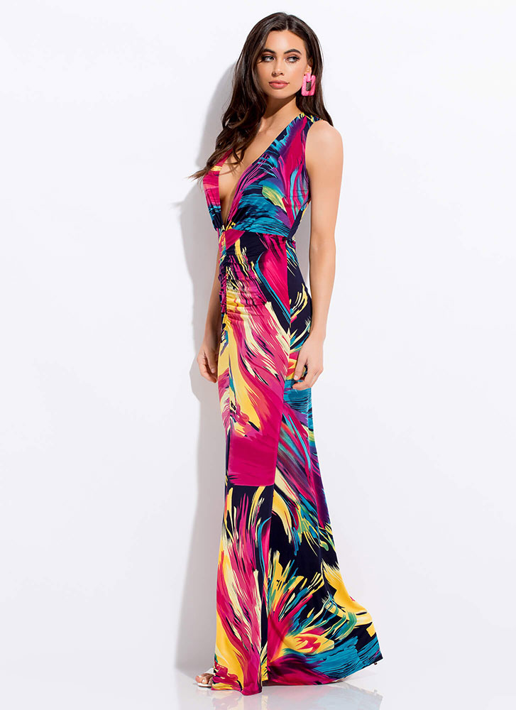 Brush With Fate Plunging Maxi Dress MULTI
