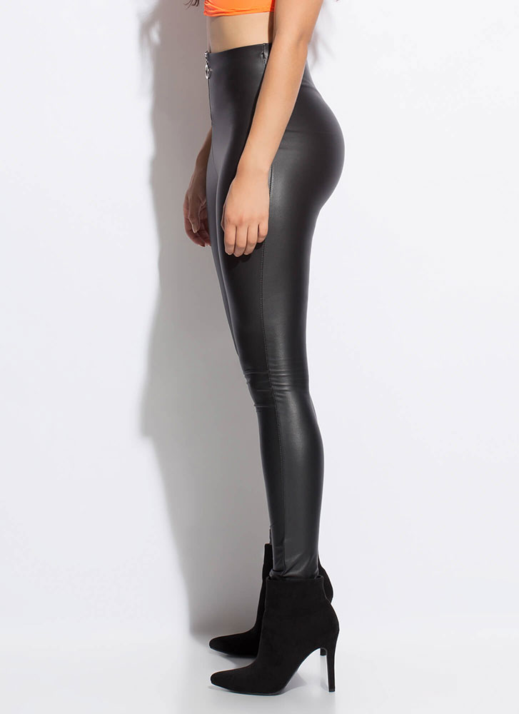 Zip Your Lip Faux Leather Leggings BLACK