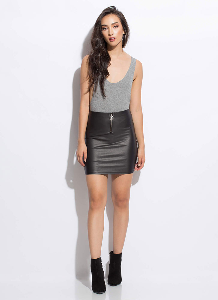 Zip Your Lip Faux Leather Miniskirt BLACK