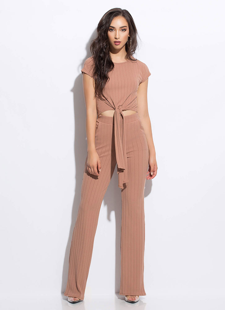 Give It Another Tie Top And Pant Set NUDE