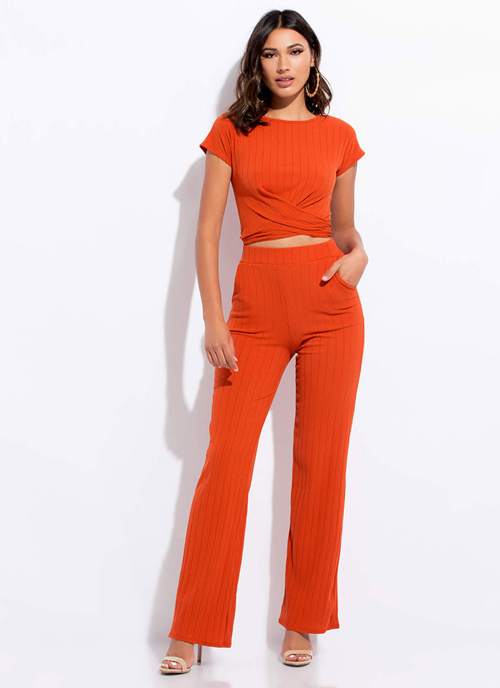 Give It Another Tie Top And Pant Set RUST